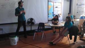 Andy chats with the students of Conservatory Lab Charter School
